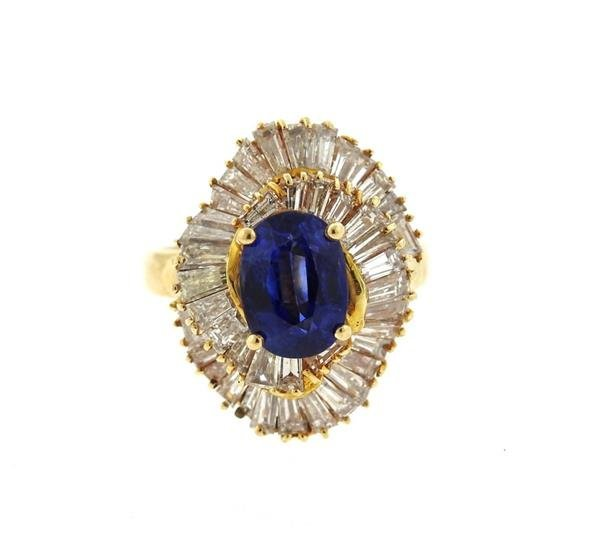 14K Gold 3ct Sapphire Diamond Cocktail Ring