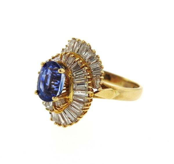 14K Gold 3ct Sapphire Diamond Cocktail Ring - 2