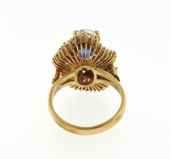 14K Gold 3ct Sapphire Diamond Cocktail Ring - 3
