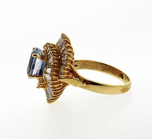 14K Gold 3ct Sapphire Diamond Cocktail Ring - 4