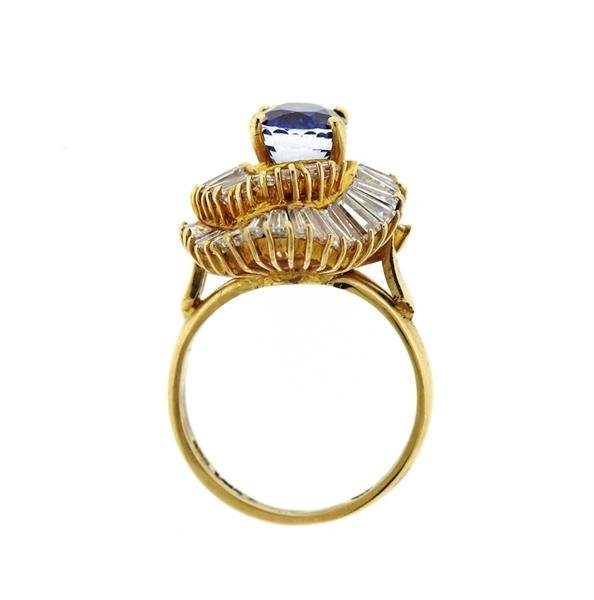 14K Gold 3ct Sapphire Diamond Cocktail Ring - 5
