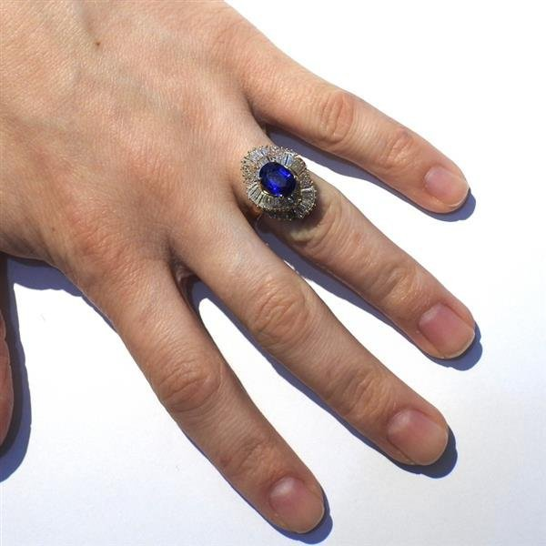 14K Gold 3ct Sapphire Diamond Cocktail Ring - 6