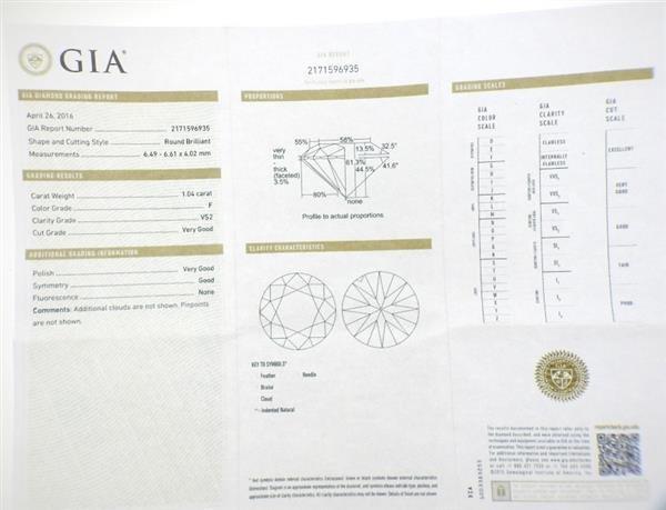 Harry Winston GIA 18K Gold 1.04ct  F VS2 Diamond - 7