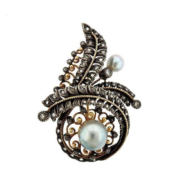Antique 18K Gold Silver Diamond Pearl Brooch