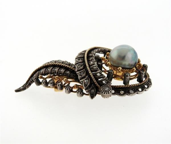 Antique 18K Gold Silver Diamond Pearl Brooch - 2