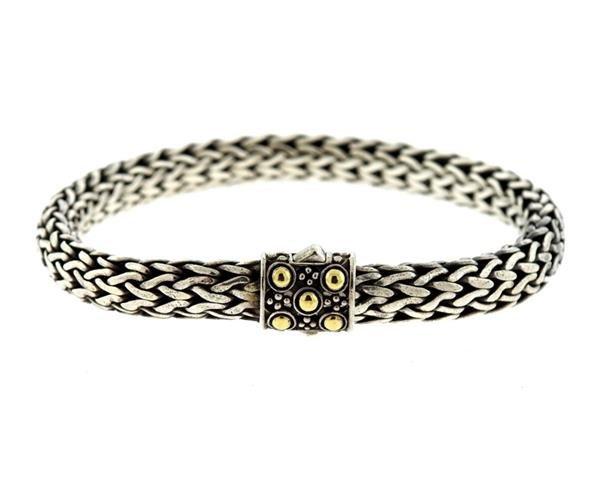 John Hardy Dot  18K Gold Silver Chain Bracelet