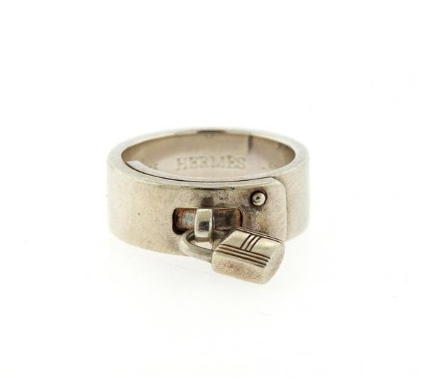 Hermes Sterling Silver Kelly Lock Charm Ring