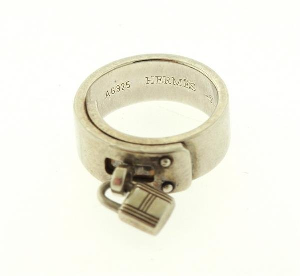 Hermes Sterling Silver Kelly Lock Charm Ring - 2