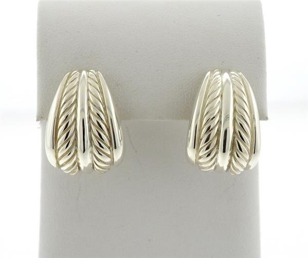 David Yurman Sterling Cable Half Hoop Earrings