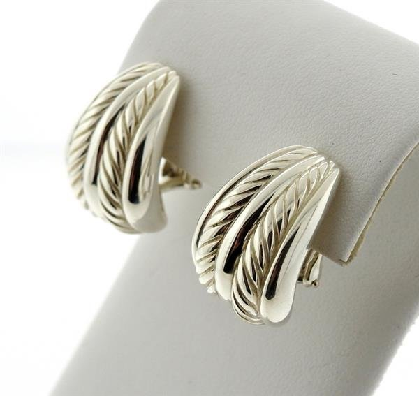 David Yurman Sterling Cable Half Hoop Earrings - 2