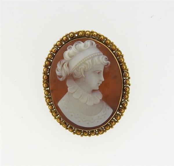 Antique 18k Gold Shell Cameo Brooch Pendant