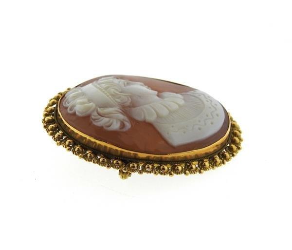 Antique 18k Gold Shell Cameo Brooch Pendant - 2