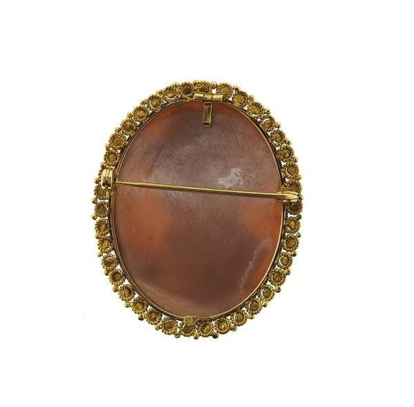 Antique 18k Gold Shell Cameo Brooch Pendant - 3