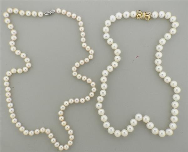 18K 14K Gold Diamond Pearl Necklace Lot of 2