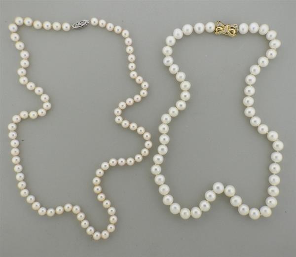 18K 14K Gold Diamond Pearl Necklace Lot of 2 - 2