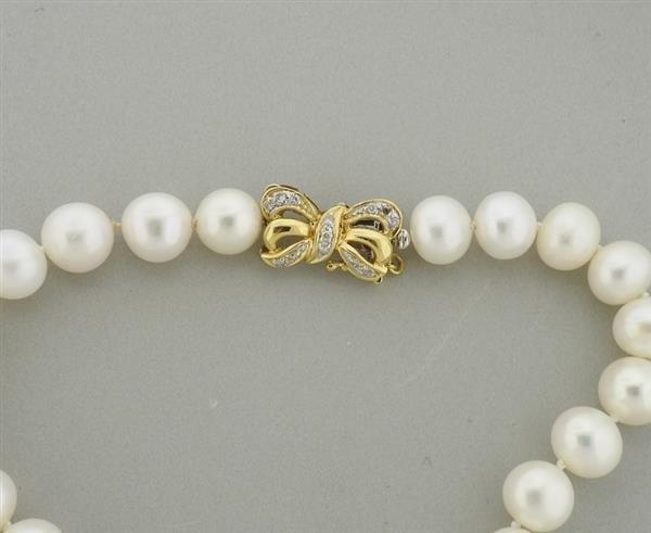 18K 14K Gold Diamond Pearl Necklace Lot of 2 - 3