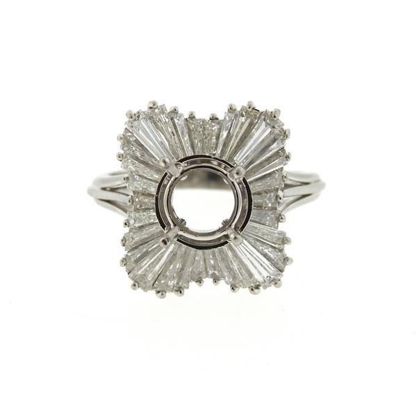 1950s Platinum Diamond Ring Mounting Setting