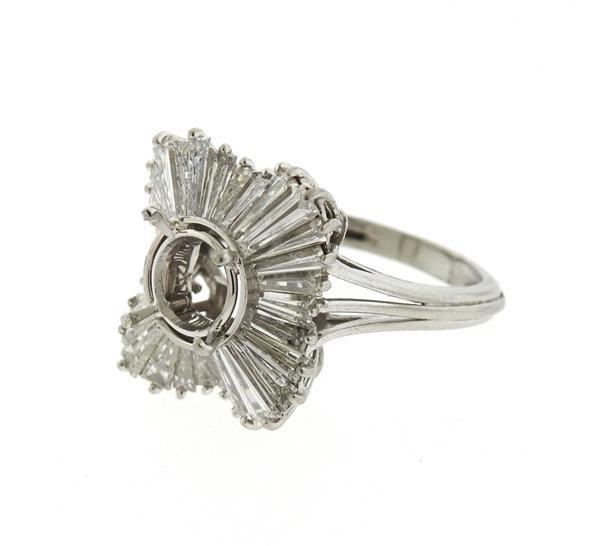 1950s Platinum Diamond Ring Mounting Setting - 2