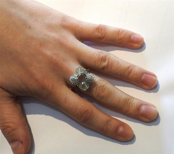 1950s Platinum Diamond Ring Mounting Setting - 4