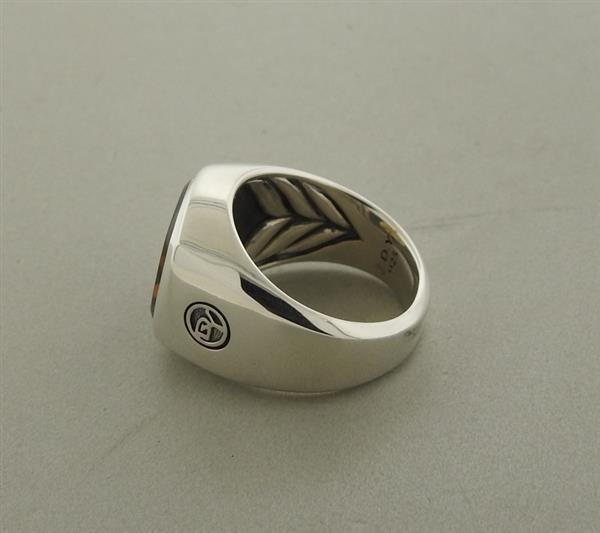 David Yurman Sterling Smokey Topaz Men's Ring - 4