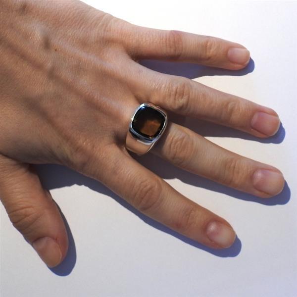 David Yurman Sterling Smokey Topaz Men's Ring - 6
