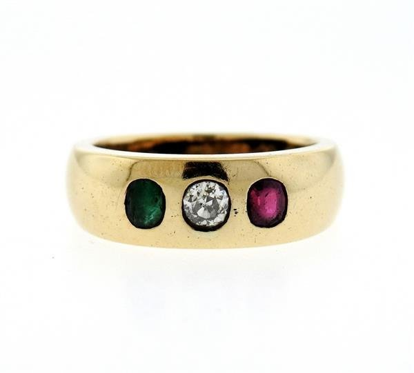 14K Gold Gypsy Diamond Color Stone Ring