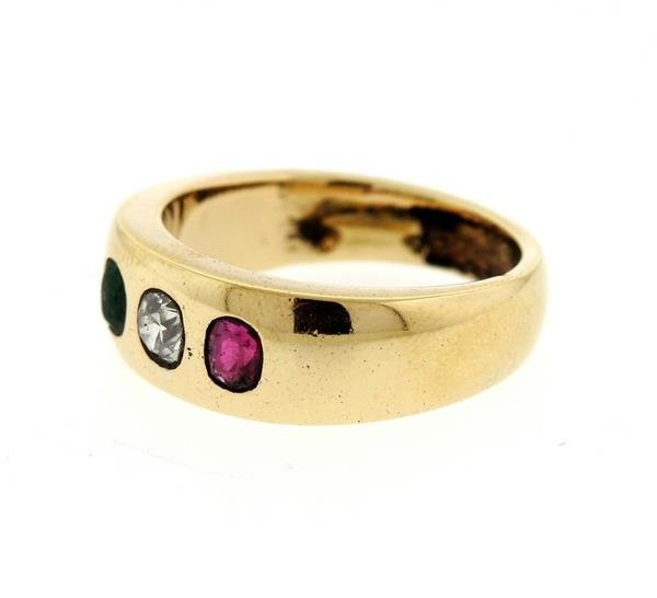 14K Gold Gypsy Diamond Color Stone Ring - 2