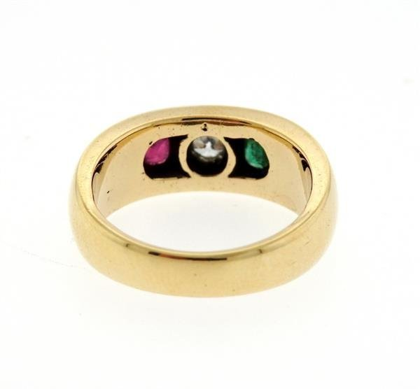 14K Gold Gypsy Diamond Color Stone Ring - 3