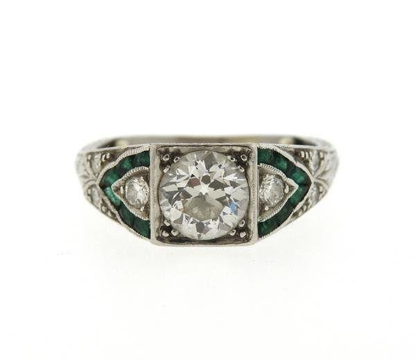 Art Deco Platinum Emerald Diamond Engagement Ring