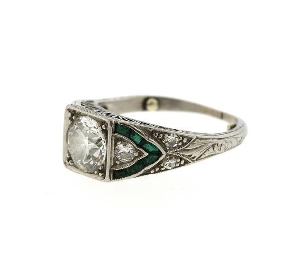 Art Deco Platinum Emerald Diamond Engagement Ring - 2