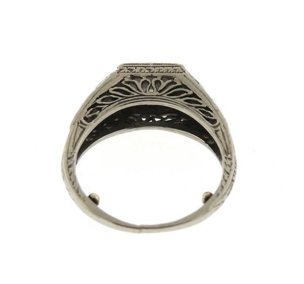 Art Deco Platinum Emerald Diamond Engagement Ring - 3