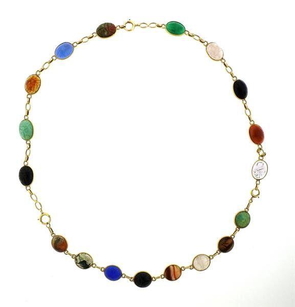 1920s 14K Gold Gemstones Scarab Necklace Bracelet Set