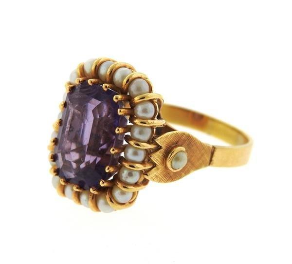 Mid Century 18k Gold Pearl Amethyst Ring