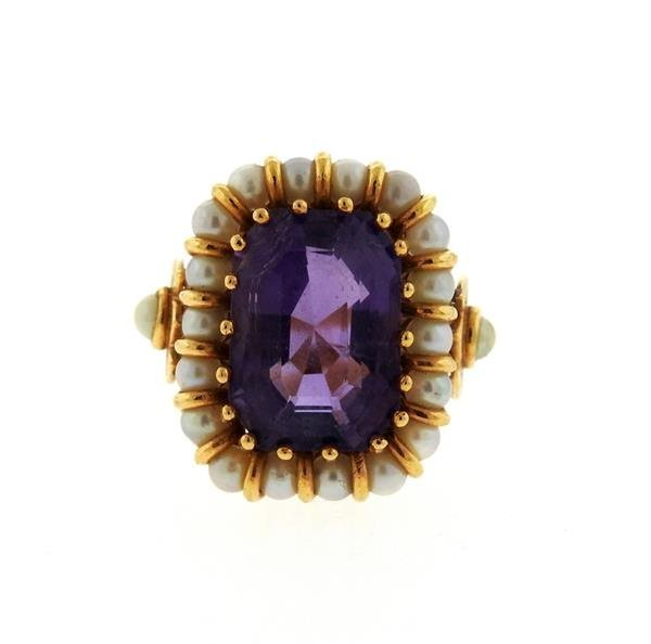 Mid Century 18k Gold Pearl Amethyst Ring - 2