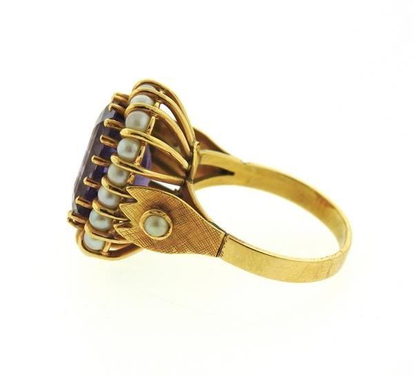 Mid Century 18k Gold Pearl Amethyst Ring - 3