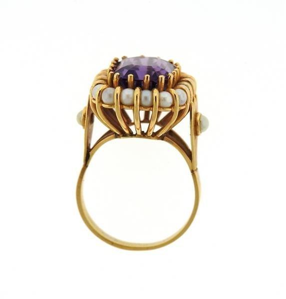 Mid Century 18k Gold Pearl Amethyst Ring - 4