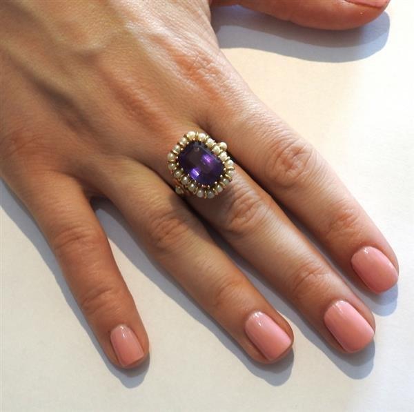 Mid Century 18k Gold Pearl Amethyst Ring - 5