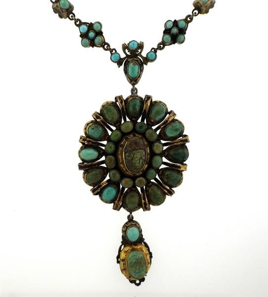 Antique Hungarian Sterling Turquoise Large Pendant - 2