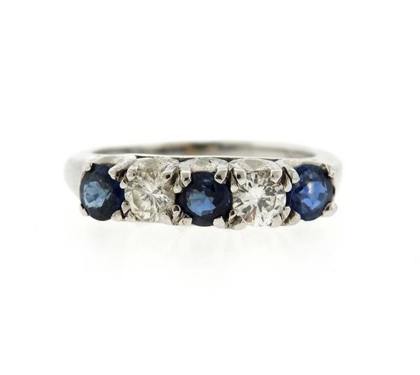 14K Gold Diamond Blue Sapphire Ring