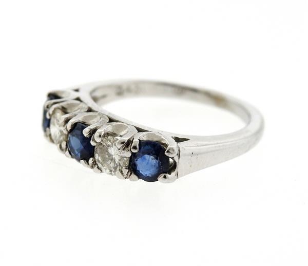 14K Gold Diamond Blue Sapphire Ring - 2