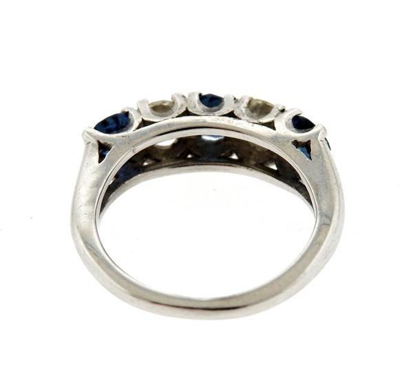 14K Gold Diamond Blue Sapphire Ring - 3