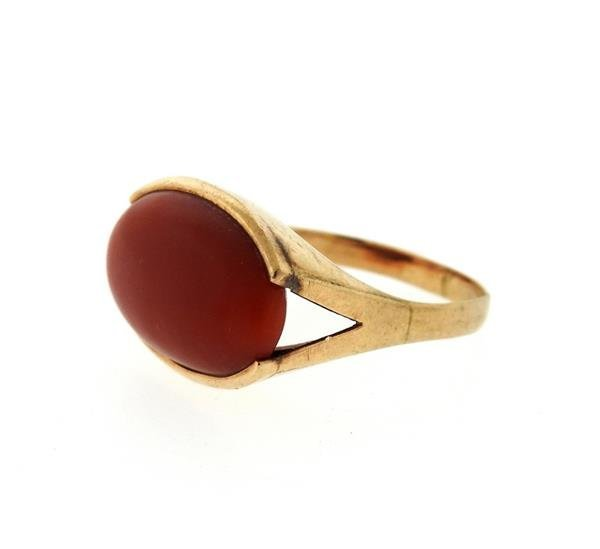 18K Gold Coral Ring - 2