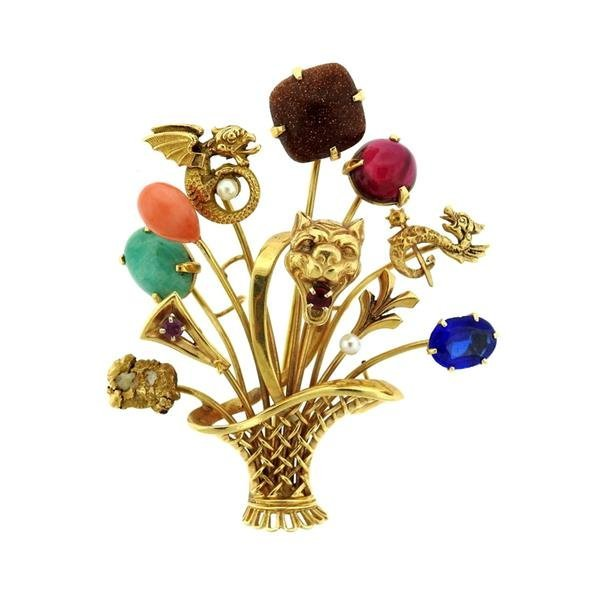 1940s Multi Color Gemstone 14k Gold Stick Pin Brooch