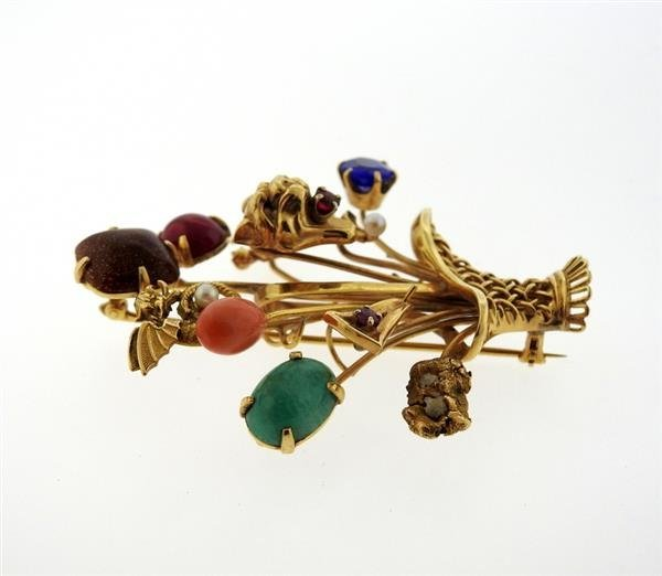 1940s Multi Color Gemstone 14k Gold Stick Pin Brooch - 2