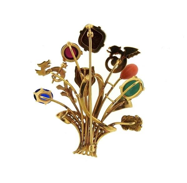 1940s Multi Color Gemstone 14k Gold Stick Pin Brooch - 3