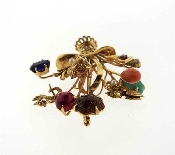 1940s Multi Color Gemstone 14k Gold Stick Pin Brooch - 4