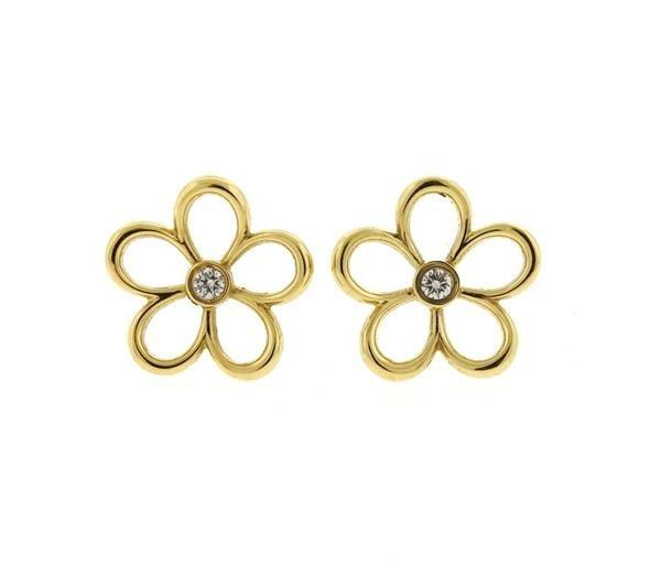 Tiffany & Co 18k Gold Diamond Flower Stud Earrings