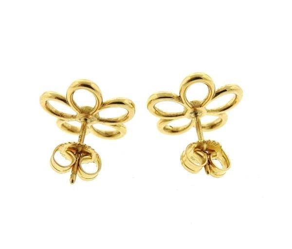 Tiffany & Co 18k Gold Diamond Flower Stud Earrings - 3