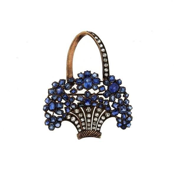 Antique 9K Gold Blue Clear Stone Flower Basket Brooch