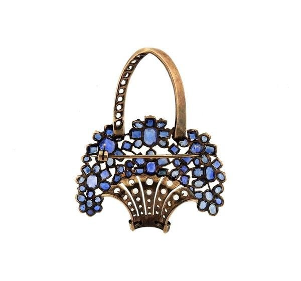 Antique 9K Gold Blue Clear Stone Flower Basket Brooch - 3